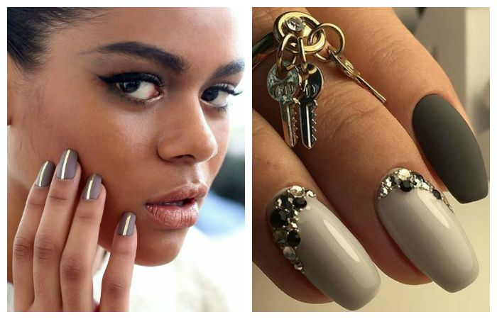 Серый дизайн коротких ногтей, фото