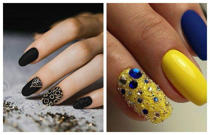 Дизайн коротких ногтей с микробисером, фото