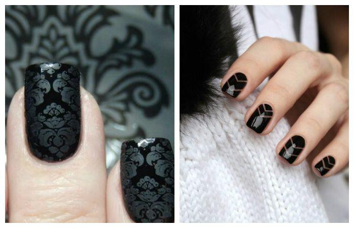 Черный дизайн на короткие ногти, фото