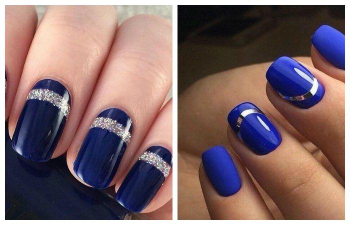 Дизайн ногтей синий с серебром, фото