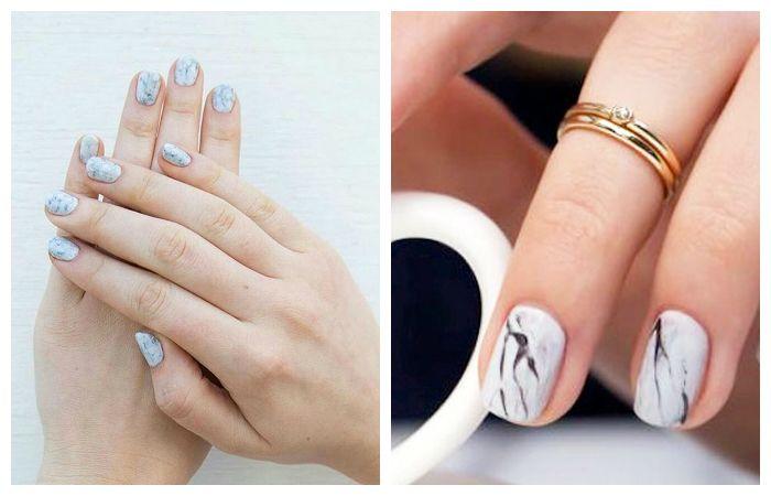 Stone-дизайн ногтей на короткие ногти, фото
