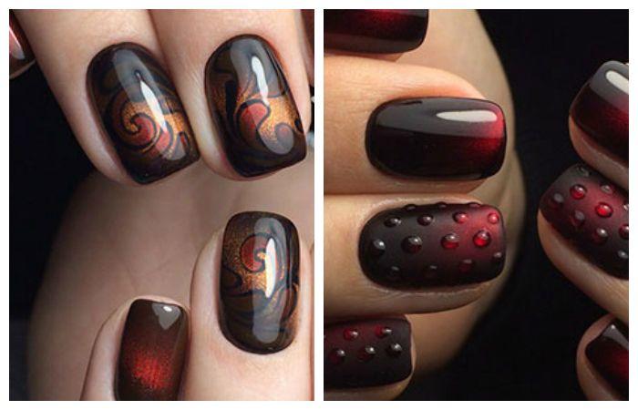 Темный дизайн ногтей гель-лаком кошачий глаз на короткие ногти, фото