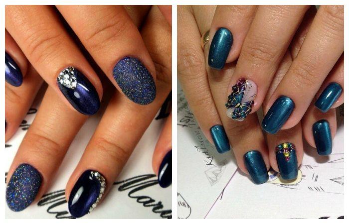 Синий дизайн ногтей гель-лаком кошачий глаз на короткие ногти, фото