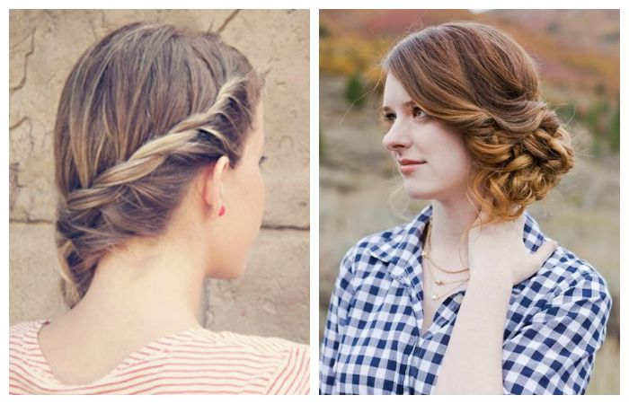 Легкие прически на средние волосы, собранные на бок, фото