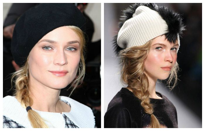 Легкие прически под шапку на средние волосы с косой на один бок, фото