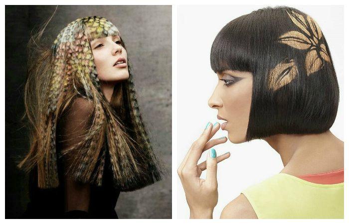 Трафаретное окрашивание волос, фото
