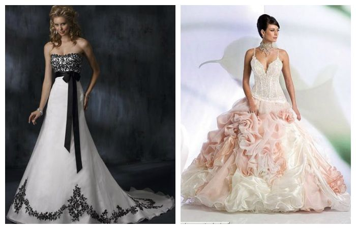 Двухцветные свадебные платья, фото