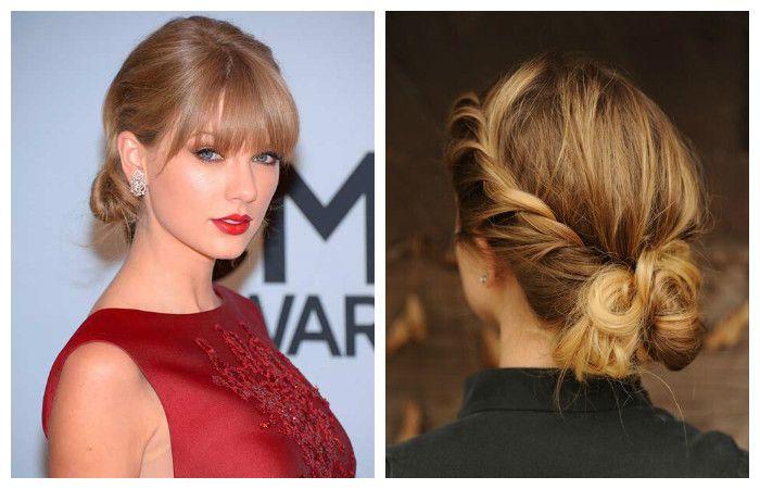 Варианты вечерней прически для волос средней длины, фото