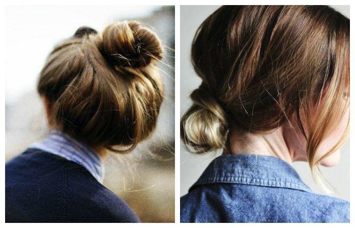 Прически с пучком для волос средней длины, фото