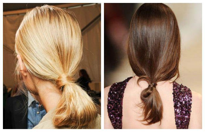 Модная тенденция 2016 - 2017 - прически с низким хвостом в виде петли на средние волосы.