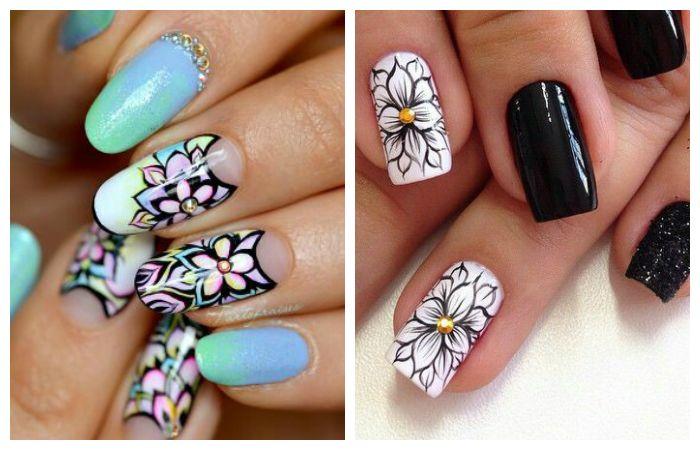 Рисунки на ногтях с красивыми цветами