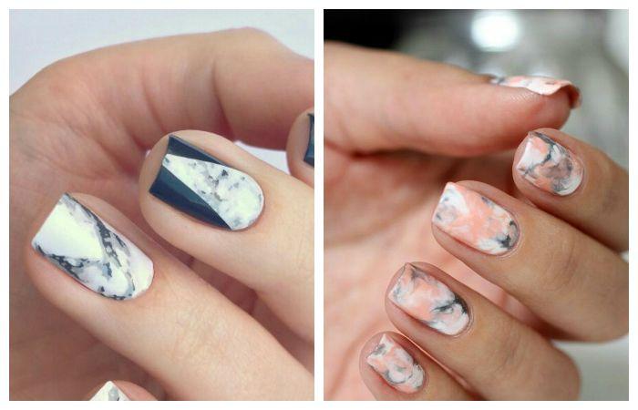 Тренд 2017 - стоун-маникюр с мраморным рисунком на ногтях, фото