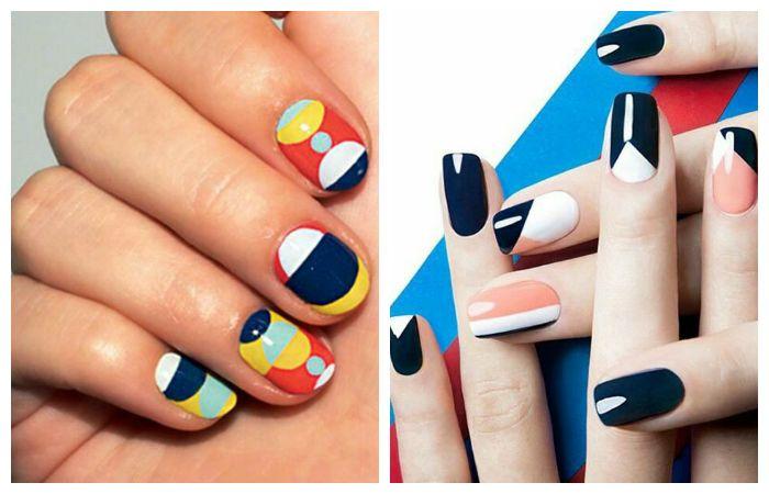 Модные геометрические рисунки на ногтях, фото