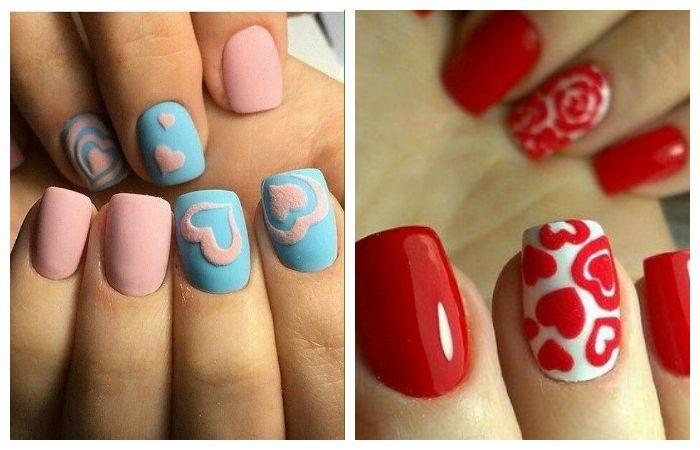 Рисунки на ногтях с сердечками, фото