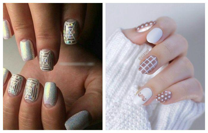 Рисунки на ногтях в виде сеточки или паутины, фото