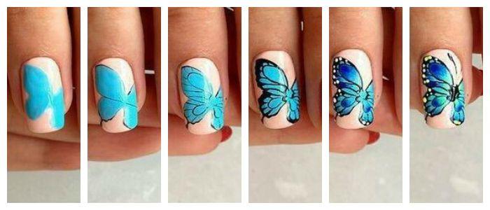 Пошаговое фото создания рисунка на ногтях в виде бабочки.