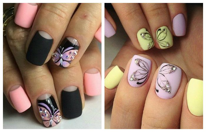 Летние рисунки на ногтях с бабочками, фото