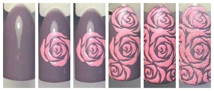 Пошаговое фото создания рисунка на ногтях с розами.