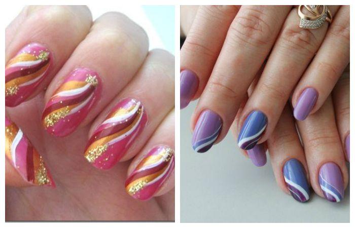 Варианты простых рисунков на ногтях в виде линий и волн, фото