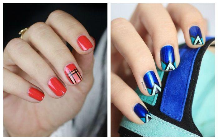 Геометрические рисунки на ногтях гель-лаком, фото