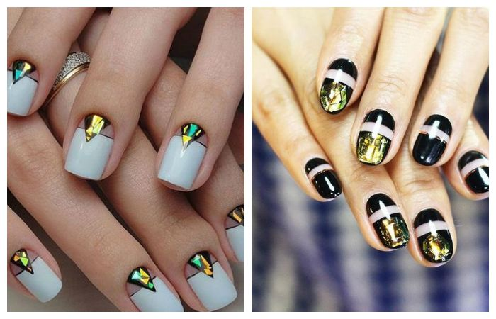 """Рисунки на ногтях, выложенные специальной фольгой, по технике """"битое стекло"""", фото"""