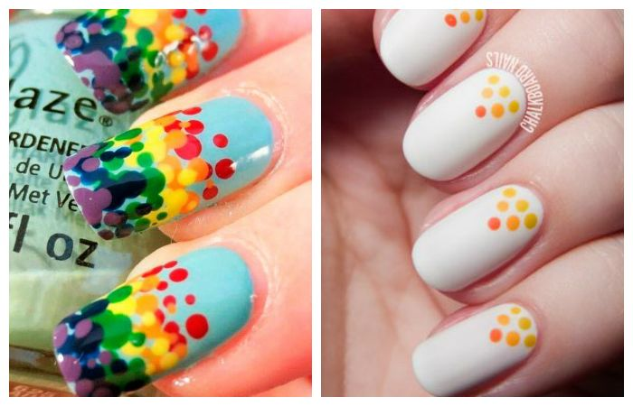 Яркие рисунки на ногтях дотсом для начинающих, фото