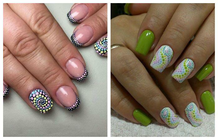 Разноцветные рисунки на ногтях дотсом для начинающих, фото