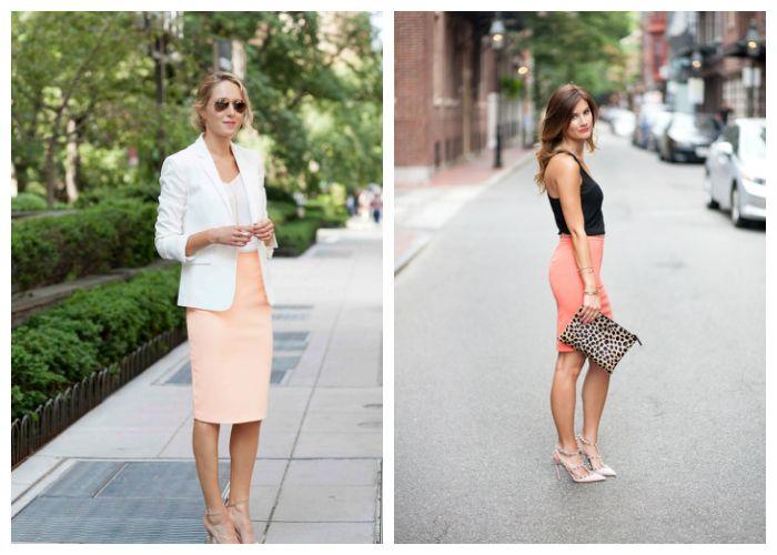 С чем носить коралловую юбку, фото
