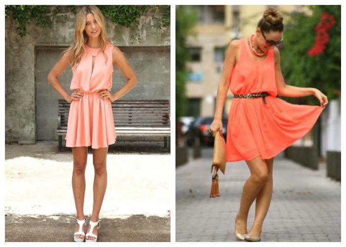 С чем носить коралловое платье, фото