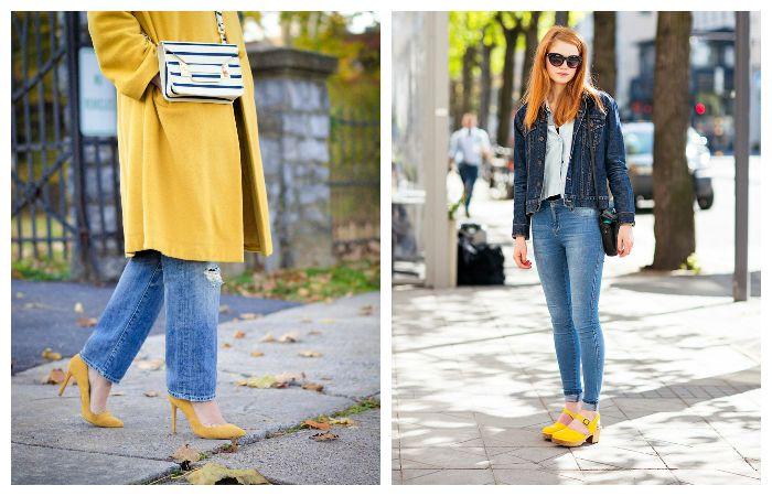 С чем носить желтые туфли?
