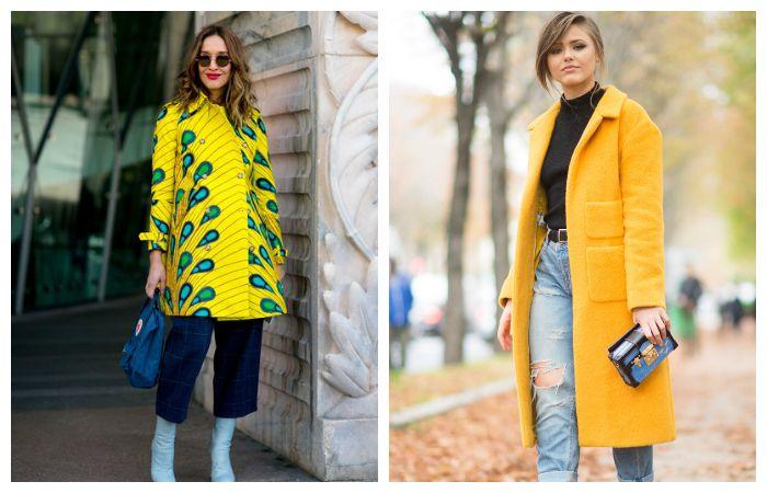 С чем носить желтое пальто?