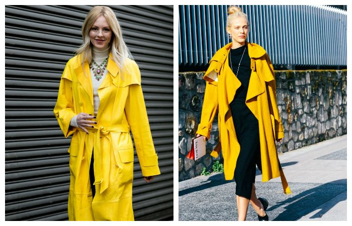 С чем носить желтый плащ?