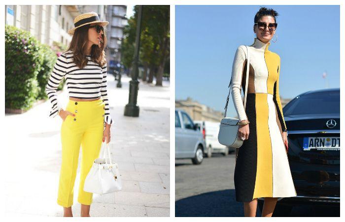 Желтый и черно-белая полоска