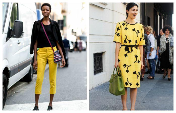 Желтый хорошо гармонирует с классическим черным
