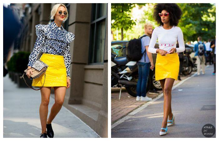 Желтая юбка мини. С чем одеть?