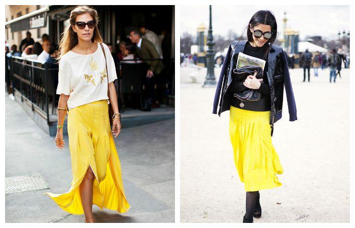 С чем носить желтую плиссированную юбку, фото