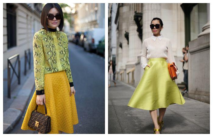 С чем носить желтую юбку-солнце, фото
