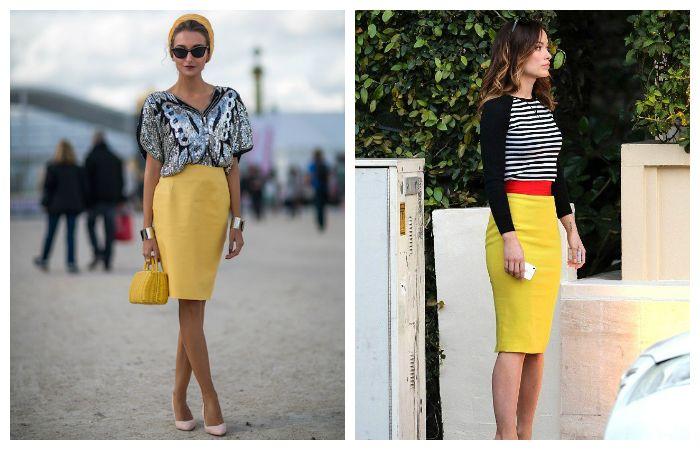 С чем носить желтую юбку-карандаш, фото