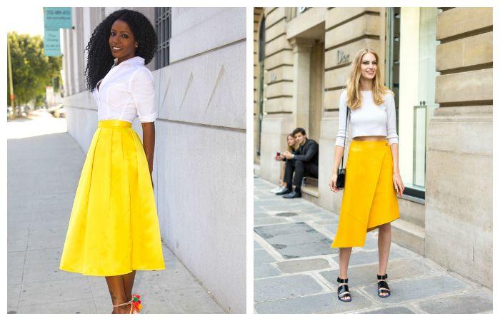 С чем носить желтую юбку - миди, фото