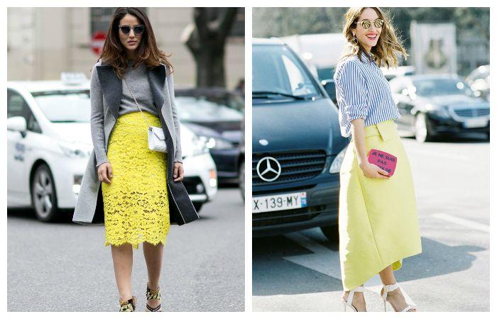 Модная желтая юбка. С чем одеть?