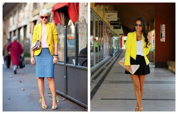 С чем носить желтый пиджак, фото