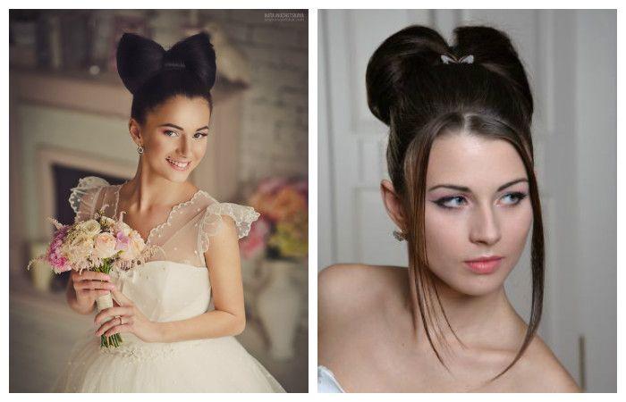 Свадебные прически с бантом на средние волосы, фотоСвадебные прически с бантом на средние волосы, фото