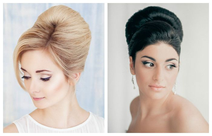 Классические свадебные прически бабетта на средние волосы, фото