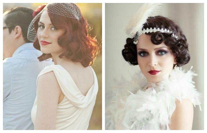 Свадебные прически ретро на средние волосы, фото