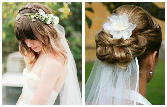 Свадебные прически с фатой на средние волосы, фото