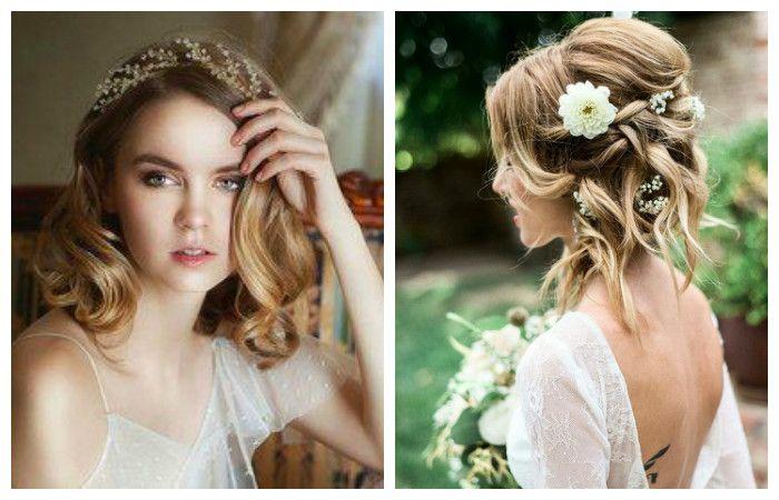 Красивые свадебные прически для средних волос, фото