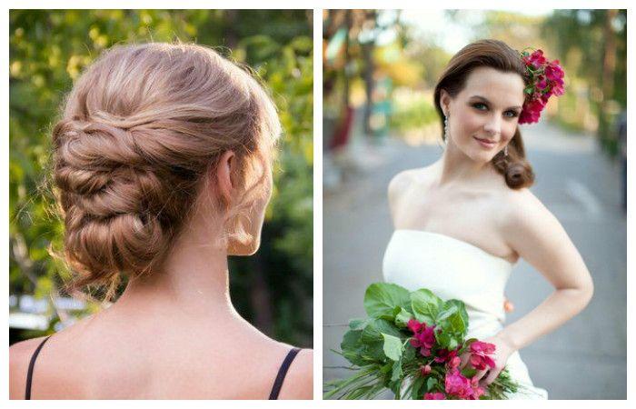 Стильные свадебные прически с плетением для средних волос, фото