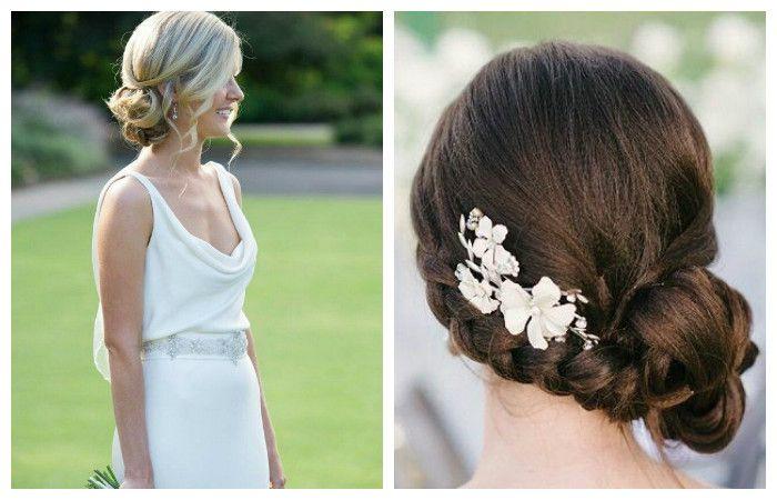 Стильные свадебные прически на один бок для волос средней длины, фото