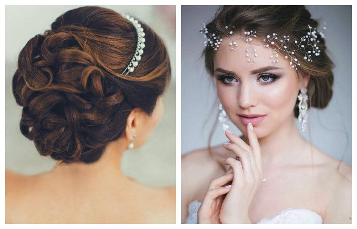 Свадебные прически с аксессуарами на средние волосы, фото