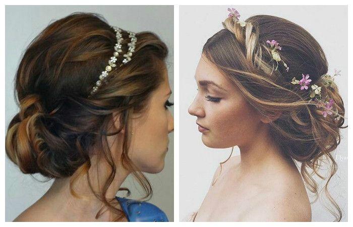 Свадебные прически с аксессуарами для волос средней длины, фото